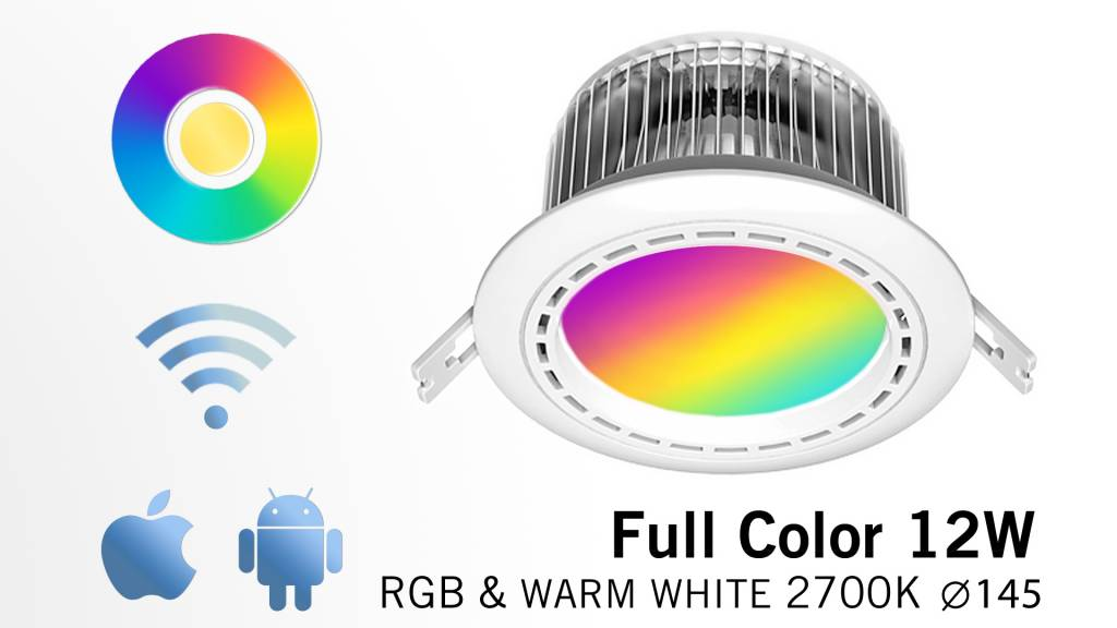 12 Watt LED RGBW Downlight, Full Color RGB and 2700K Warm White, 86-265V