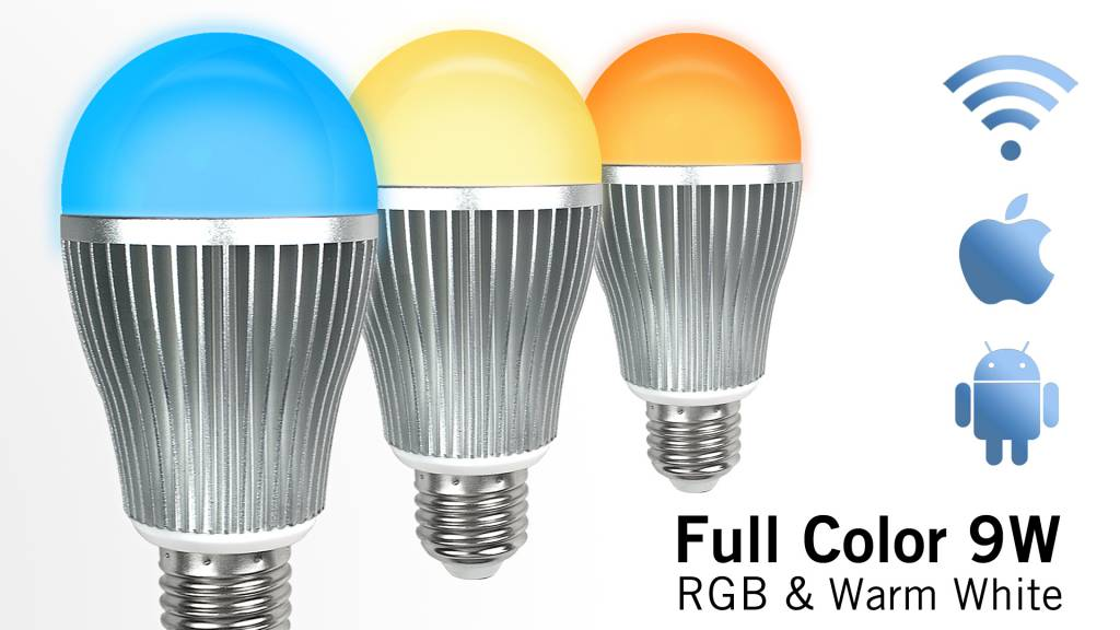 AppLamp Set of 2 wireless Multicolor RGBW 9W LED bulbs + Remote control