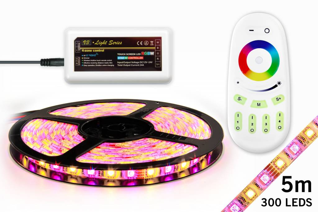 AppLamp RGBW LED Strip Set 300 Leds, Warm White U0026 RGB Color, 5M. Photo
