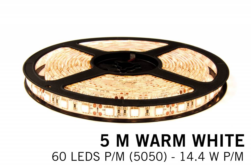 Warm White LED strip 5 meter, 300 leds type 5050 12V 72W