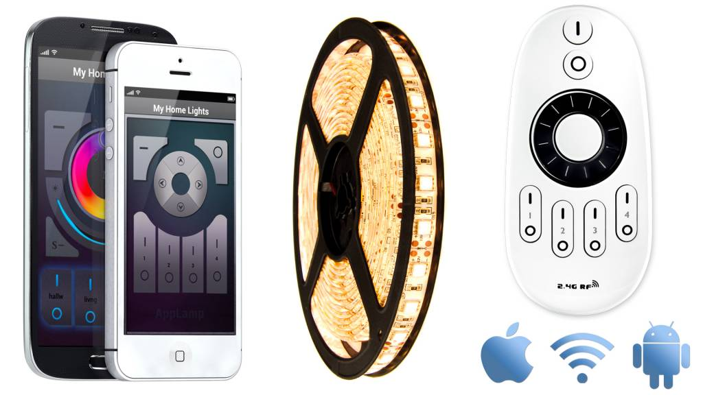 AppLamp Wifi kit with Warm Witte LED strip, 5 Meter type 5050, 72W