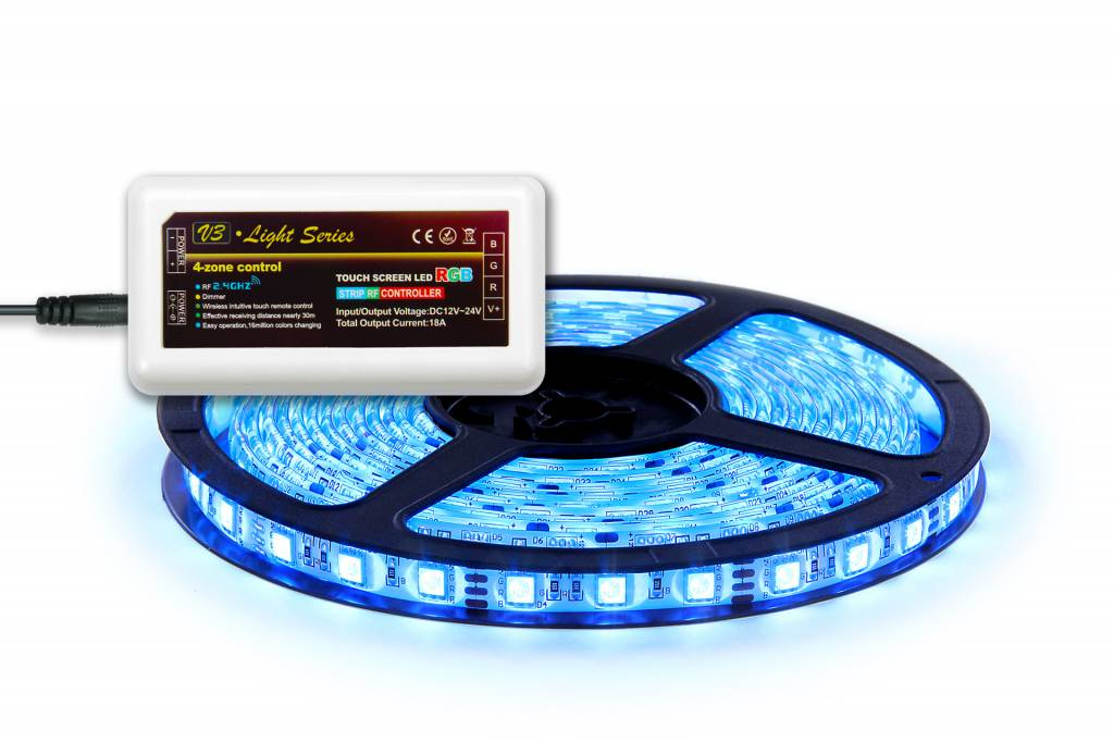 RGB LED strip 5 m. 300 leds with RGB controller en 4A adapter (Add-on)