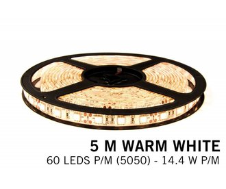 Warm White LED strip 60 leds p.m. - 5M - type 5050 - 12V - 14,4W/p.m