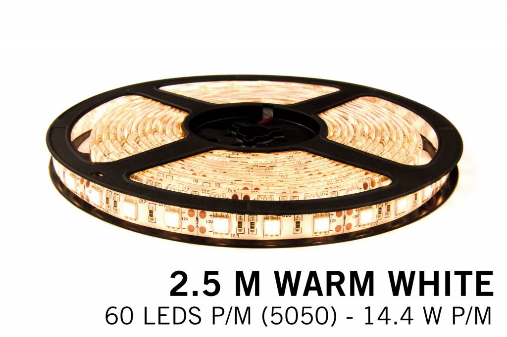 Warm White LED strip 60 leds p.m. - 2,5M - type 5050 - 12V - 14,4W p.m