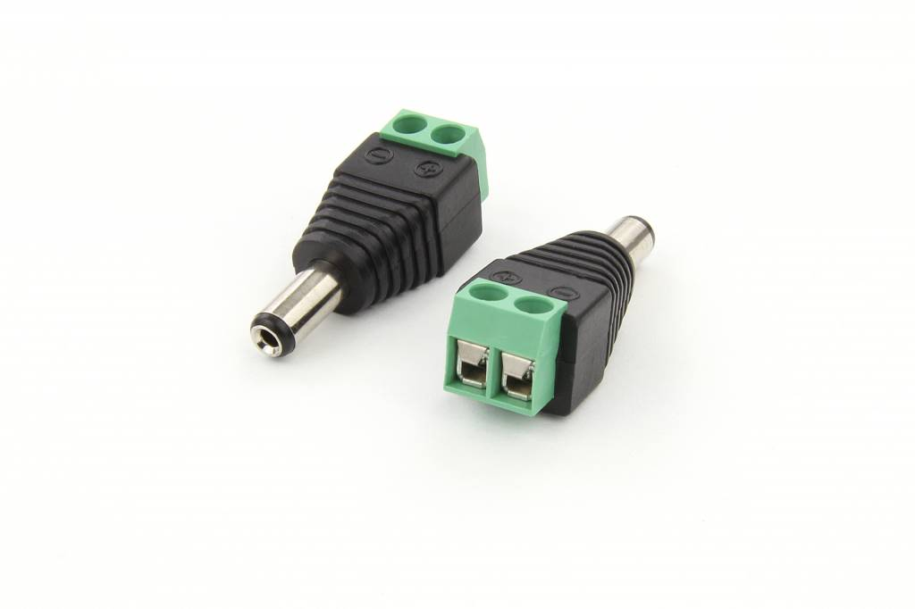DC jack male 5,5 mm x 2.5 mm to wire screw connector