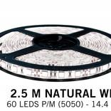 Neutral white LED strip 60 leds pm - 2.5M - type 5050 - 12V - 14,4W/pm