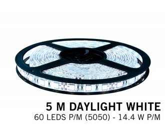 Cool white LED strip 60 leds p.m. - 5M - type 5050 - 12V - 14,4W/p.m