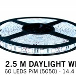 Cool white LED strip 60 leds p.m. - 2,5M - type 5050 - 12V - 14,4W/p.m