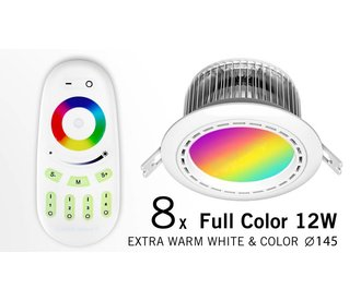 Eight 12 Watt LED RGBW Downlights, Full Color RGB and 2700K Warm White