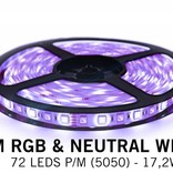 RGBW LED strip set 360 leds, Neutral White & RGB color, 5 m. with RF remote control