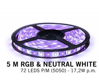 RGBW LED strip, color + neutral white - 360 LED's 86W 12V 5 meter