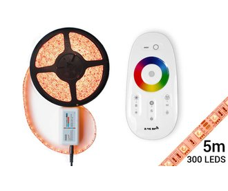 RGB LED strip with RF Remote & Adapter (5M, incl. Controller and power supply)