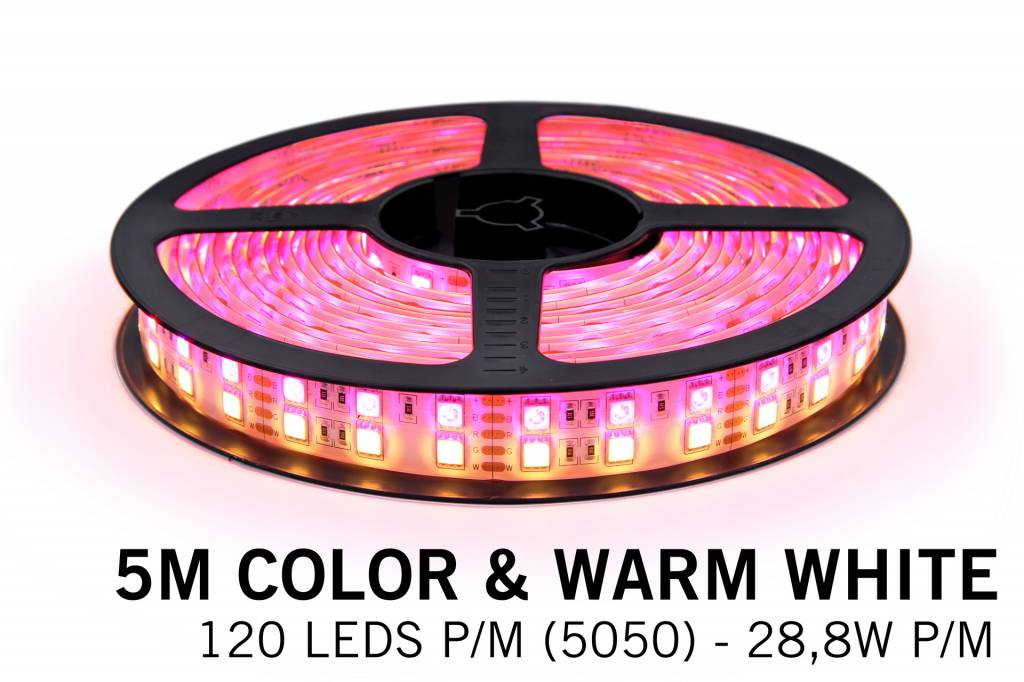 RGBW LED strip 600 leds 5 meter double row type 5050 12V 144W