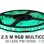 RGB LED strip 2.5 meter, 30 leds p.m. type 5050 12V (IP65)