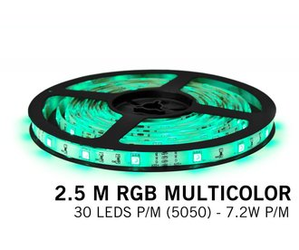 RGB LED strip 2.5 meter, 30 leds p.m. type 5050 12V (IP65)