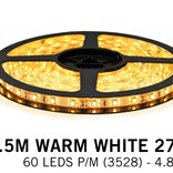 Warm White LED strip (2700K) 60 LED's p.m. type 3528 - 2,5M - 12V - 4,8W p.m.