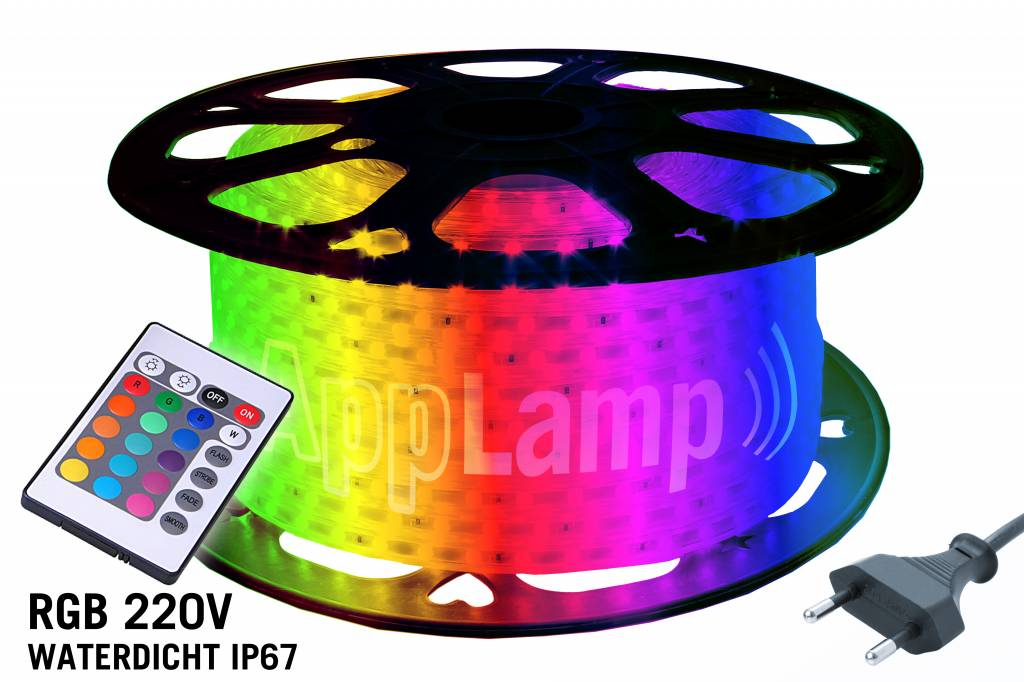 50M RGB 220-240 Volt LED strip waterproof, with remote control