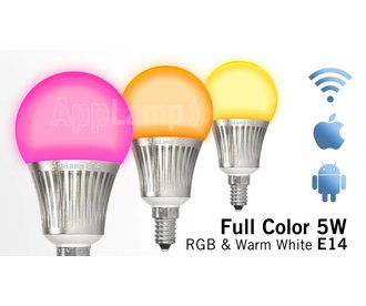 AppLamp Wi-Fi / RF wireless color RGBW LED bulb, dimmable, small E14 socket, 5 Watt