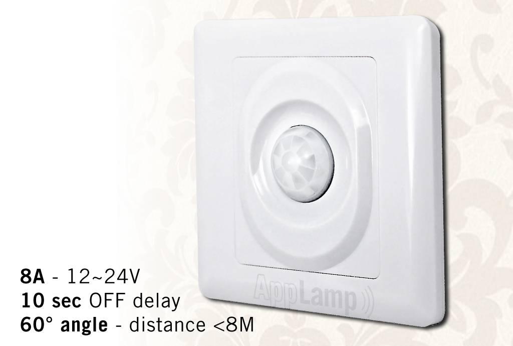 Wall mounted PIR movement sensor, 12-24V / 8A, 60° angle, 10 sec delay.