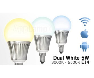 Wi-Fi / RF wireless Dual White LED bulb, dimmable, small E14 socket, 5 Watt
