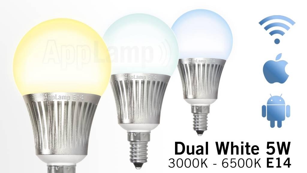 Wi-Fi / RF wireless Dual White LED bulb, dimmable, small E14 socket, 5 Watt