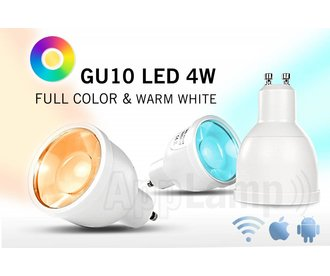 Remote controlled GU10 dimmable LED spotlight, Full Color RGBW, RF, 4W