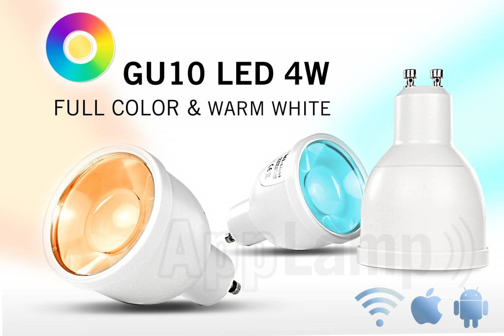 Remote controlled GU10 dimmable LED spotlight, Full Color RGBW, halogen replacement, RF, 4W