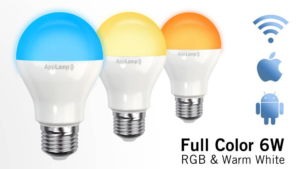 AppLamp Wifi LED Bulb 6W RGBW Full Color + Warm White 3000K