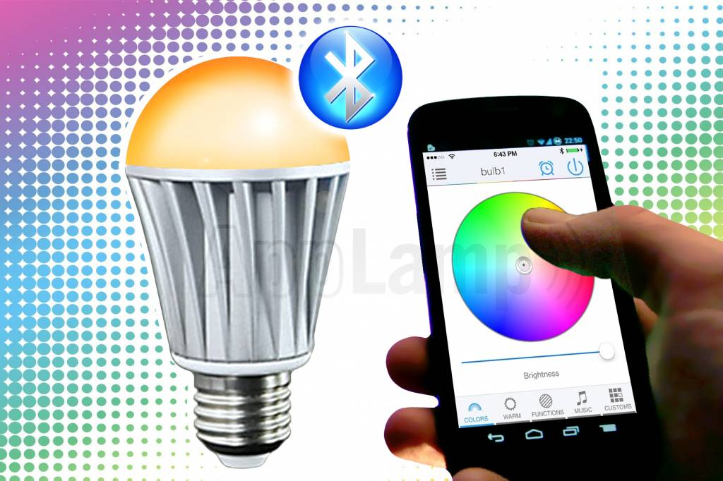 Bluetooth LED lamp 16M kleuren,warm wit, wake-up light (V2) - AppLamp