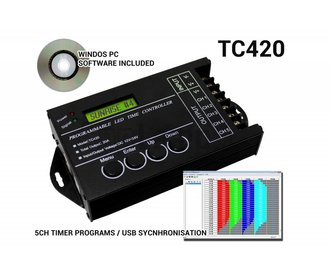 TC420 LED time controller 5 channel timer, 24 hour sunset schedule time switch