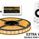 LED strip kit Extra Warm White with double row of 600 LEDs - 28W p.m., 12V 5M with RF remote