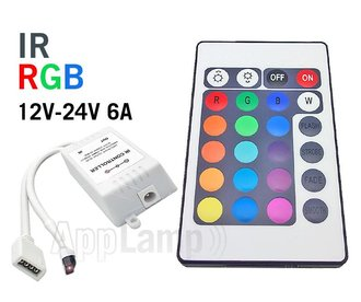 RGB LED-strip Controller with IR 24 KEY remote control, 12-24V 6A