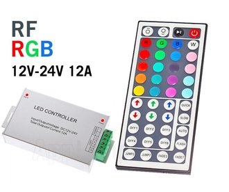 RF RGB LED Strip Controller with 44-button remote control, 12A 12-24V