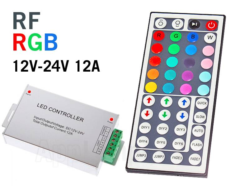 rf rgb led strip controller with 44 button remote control. Black Bedroom Furniture Sets. Home Design Ideas