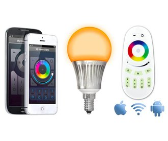 Wifi Kit + 5W RGBW Full Color E14 LED bulb. Remote + Wifibox