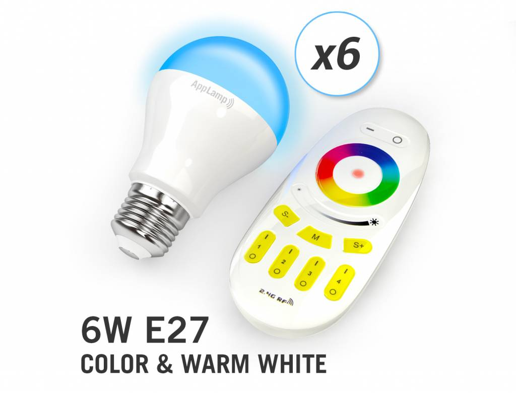 AppLamp Set of 6 RGBW 6 Watt E27 LED light bulbs + remote control