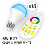 AppLamp Set of 10 RGBW 6 Watt E27 LED light bulbs + remote control