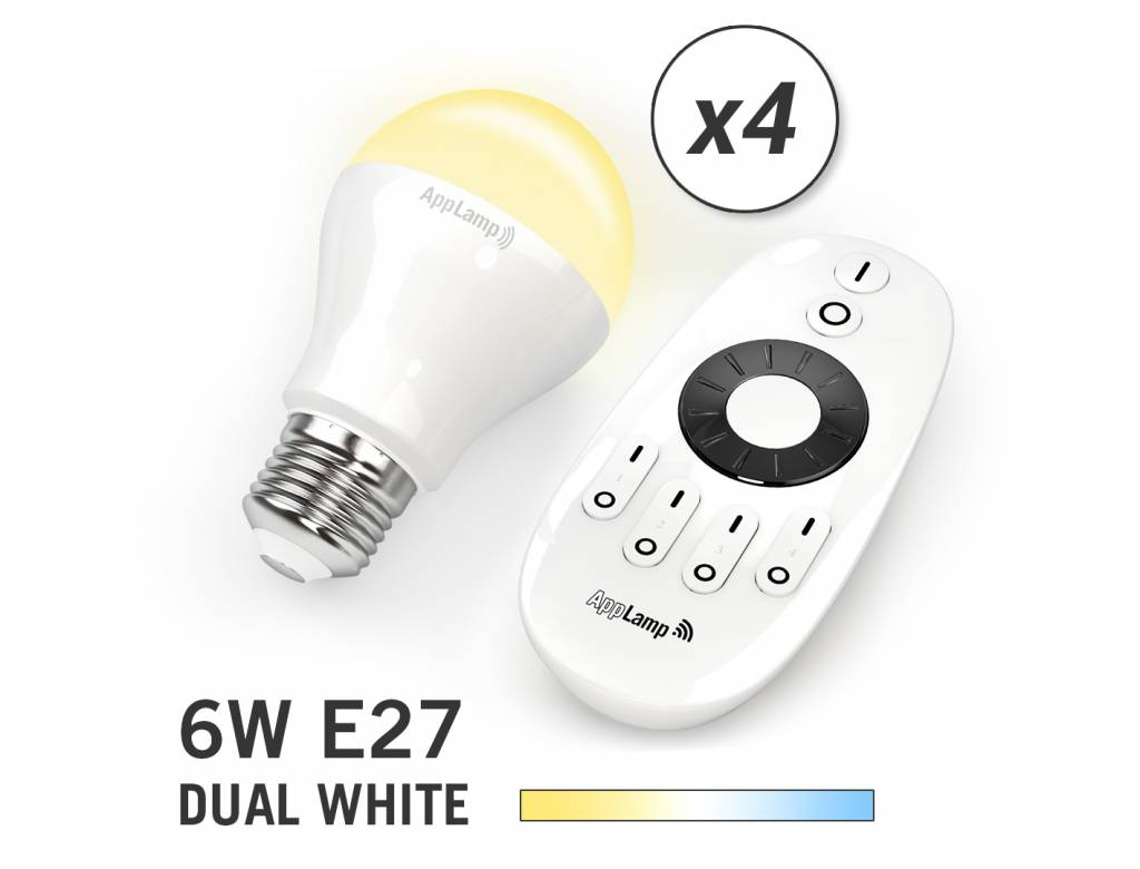AppLamp Set of 4 E27 Dual White 6W LED bulbs + Remote control