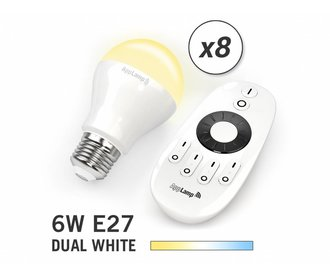AppLamp Set of 8 E27 Dual White 6W LED bulbs + Remote control