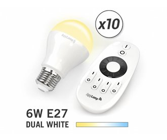 AppLamp Set of 10 E27 Dual White 6W LED bulbs + Remote control