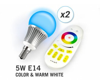 AppLamp Set of 2 RGBW 5 Watt E14 LED light bulbs + remote control