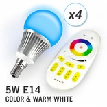 AppLamp Set of 4 RGBW 5 Watt E14 LED light bulbs + remote control