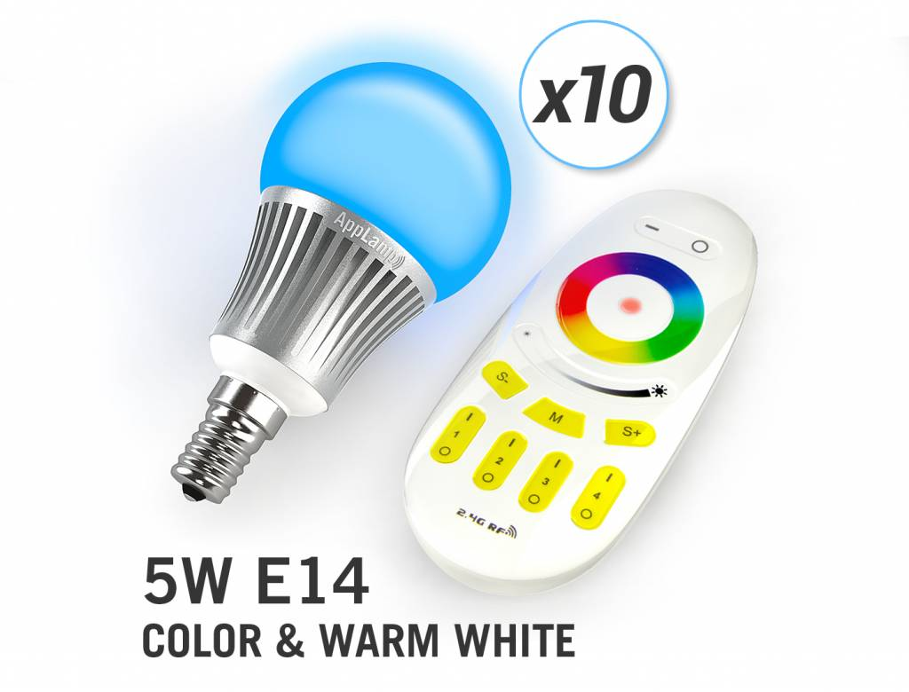 AppLamp Set of 10 RGBW 5 Watt E14 LED light bulbs + remote control