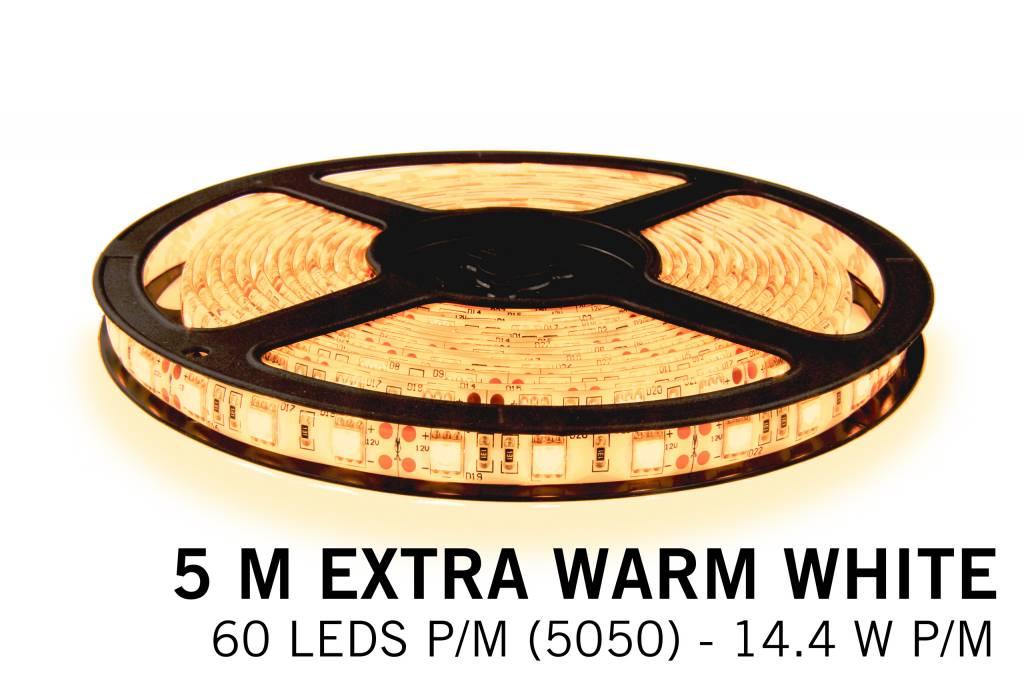 LED strip kit Extra Warm White 300 LED 72W 5M 12V, RF remote dimming