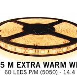 Extra Warm White LED strip with 60 leds p.m. - 5M type - 5050 - 12V - 14,4W / pm