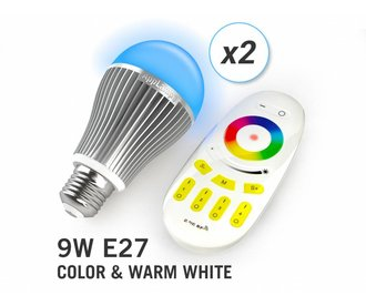AppLamp Set of 2 Multicolor RGBW 9W LED bulbs + Remote control