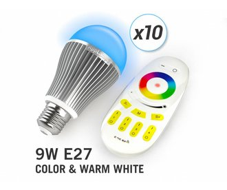 AppLamp Set of 10 Multicolor RGBW 9W LED bulbs + Remote control