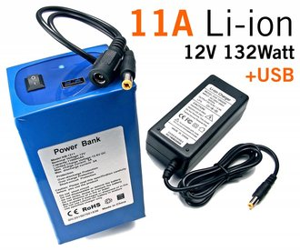 11 Amp 12V Li-Ion Power Bank, 11A 12V 132WBattery Pack with extra 5V USB Out
