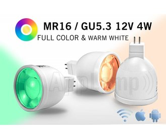 MR16 GU5.3 LED spot light, RGBW color and warm white, 12V AC/DC, 2.4G RF, 4W