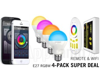 Super Saver 4-PACK 6Watt E27 Wi-Fi LED bulbs + Wifi Box + Remote